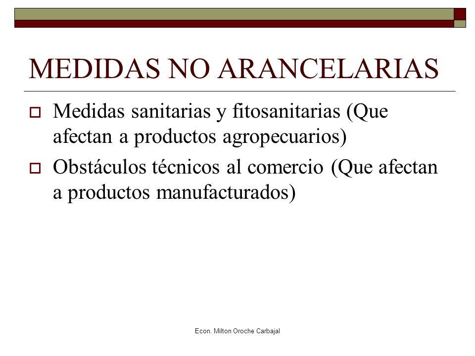 Econ. Milton Oroche Carbajal MEDIDAS NO ARANCELARIAS Medidas sanitarias y fitosanitarias (Que afectan a productos agropecuarios) Obstáculos técnicos a