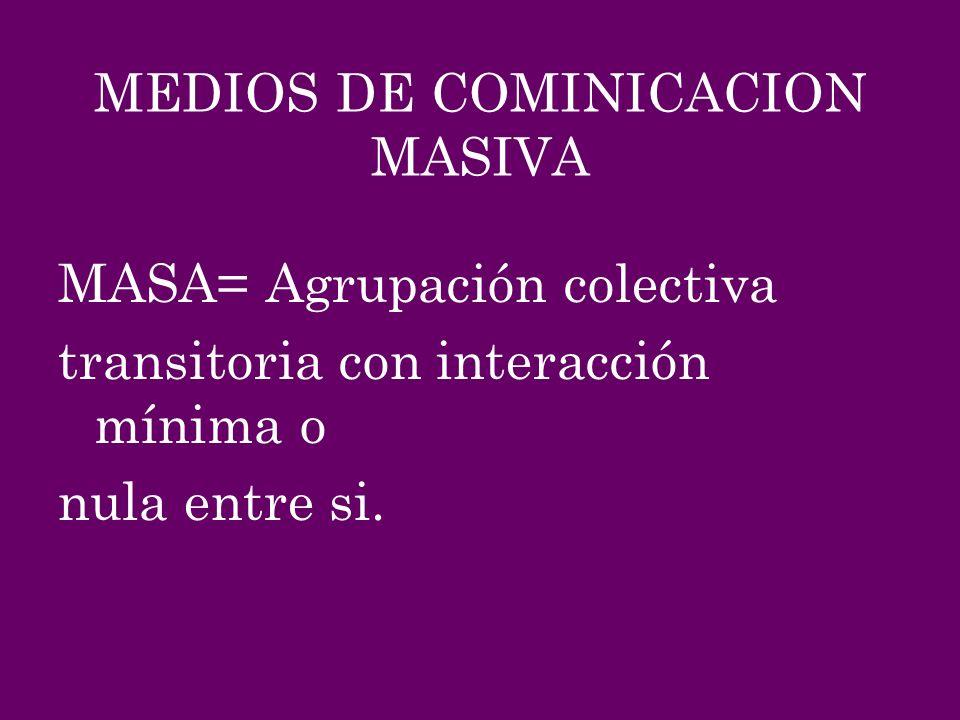 MEDIOS DE COMINICACION MASIVA MASA= Agrupación colectiva transitoria con interacción mínima o nula entre si.