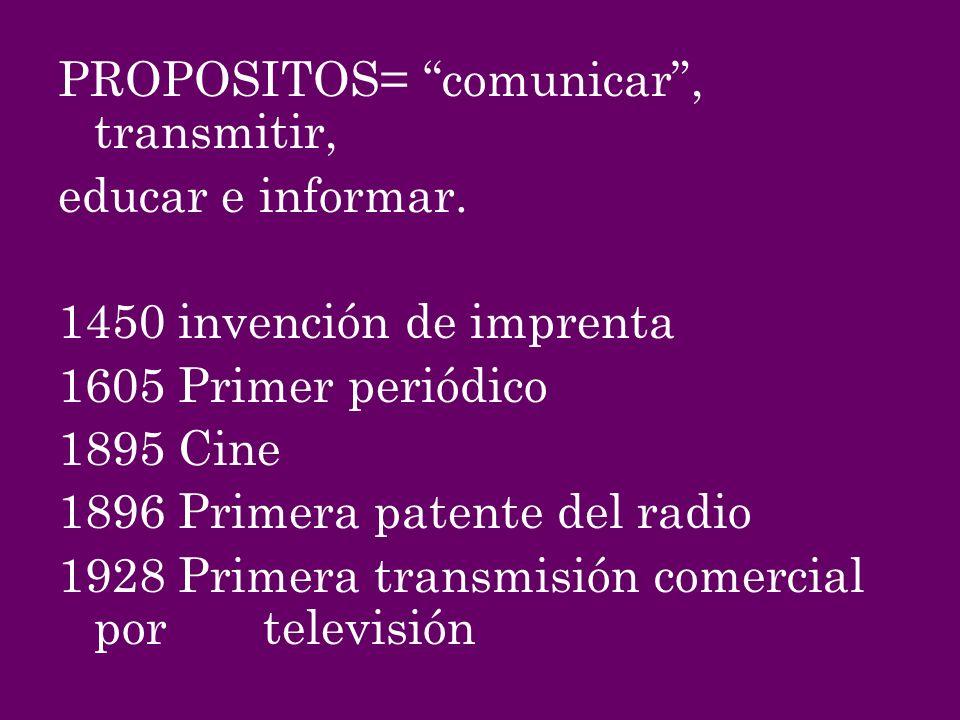PROPOSITOS= comunicar, transmitir, educar e informar. 1450 invención de imprenta 1605 Primer periódico 1895 Cine 1896 Primera patente del radio 1928 P