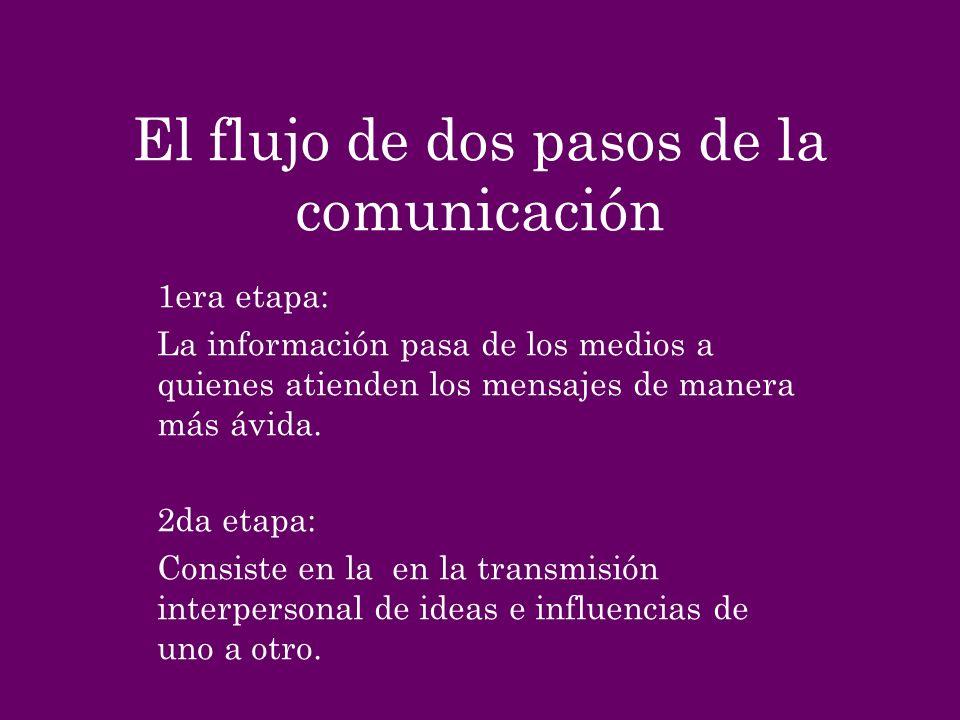 El flujo de dos pasos de la comunicación 1era etapa: La información pasa de los medios a quienes atienden los mensajes de manera más ávida. 2da etapa: