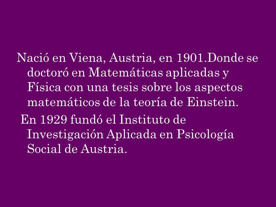 Nació en Viena, Austria, en 1901.Donde se doctoró en Matemáticas aplicadas y Física con una tesis sobre los aspectos matemáticos de la teoría de Einst