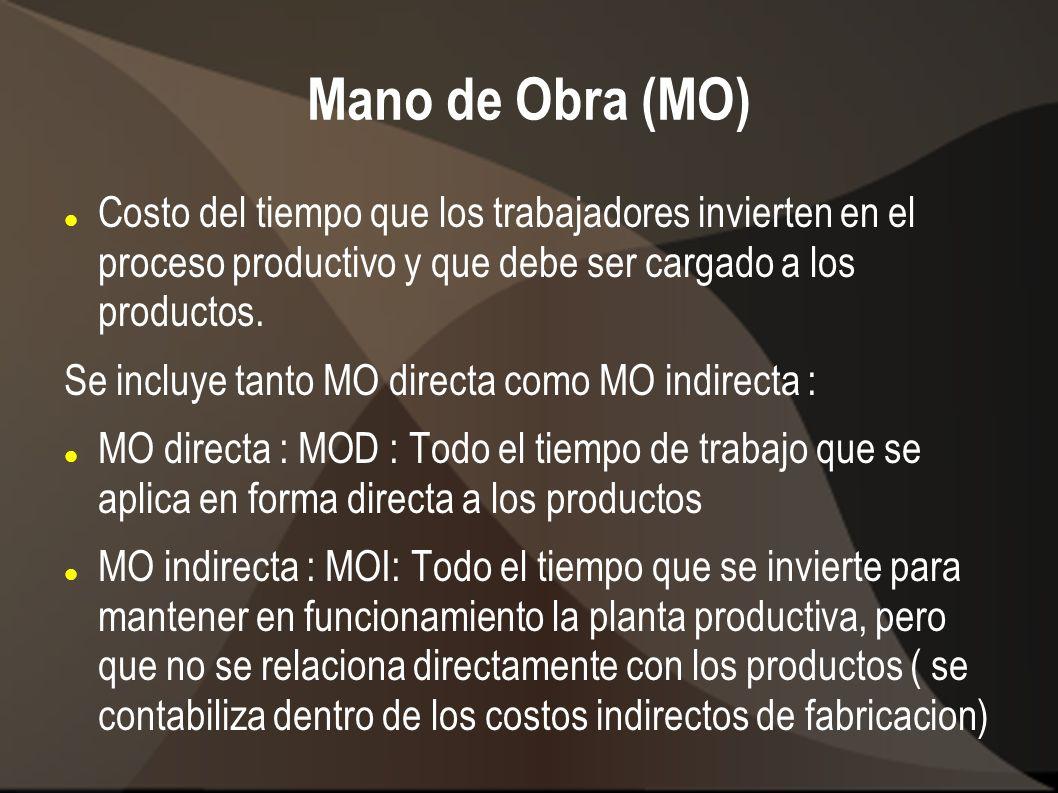 Mano de Obra (MO) Costo del tiempo que los trabajadores invierten en el proceso productivo y que debe ser cargado a los productos. Se incluye tanto MO