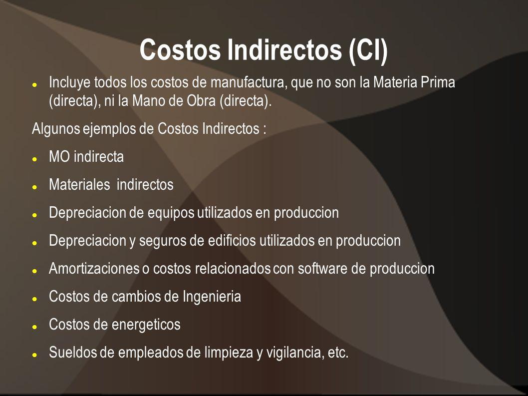 Costos Indirectos (CI) Incluye todos los costos de manufactura, que no son la Materia Prima (directa), ni la Mano de Obra (directa). Algunos ejemplos