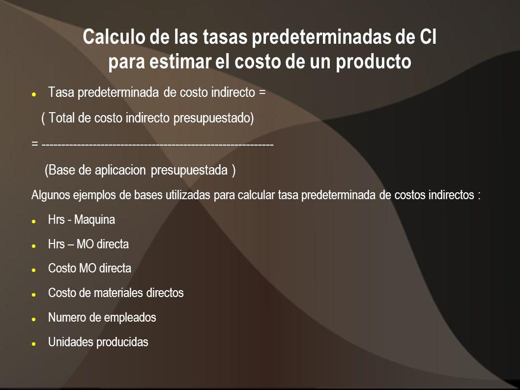 Calculo de las tasas predeterminadas de CI para estimar el costo de un producto Tasa predeterminada de costo indirecto = ( Total de costo indirecto pr