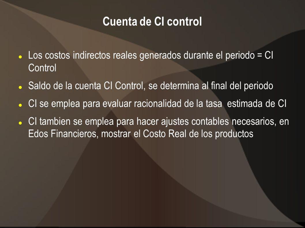 Cuenta de CI control Los costos indirectos reales generados durante el periodo = CI Control Saldo de la cuenta CI Control, se determina al final del p
