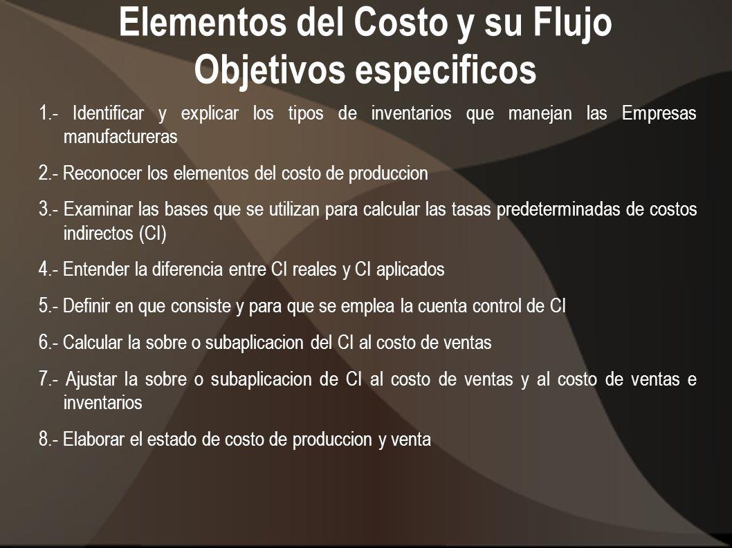 Elementos del Costo y su Flujo Objetivos especificos 1.- Identificar y explicar los tipos de inventarios que manejan las Empresas manufactureras 2.- R