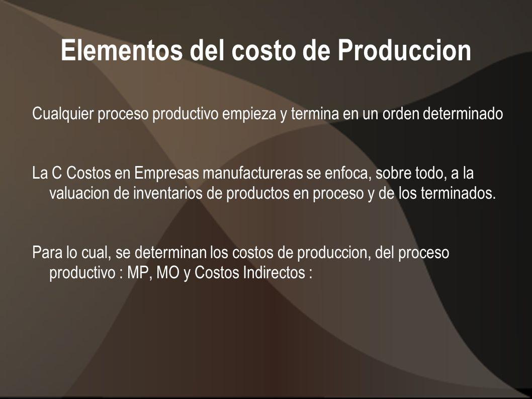 Elementos del costo de Produccion Cualquier proceso productivo empieza y termina en un orden determinado La C Costos en Empresas manufactureras se enf
