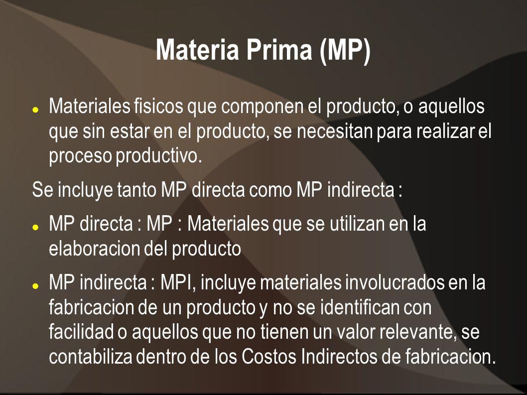 Materia Prima (MP) Materiales fisicos que componen el producto, o aquellos que sin estar en el producto, se necesitan para realizar el proceso product