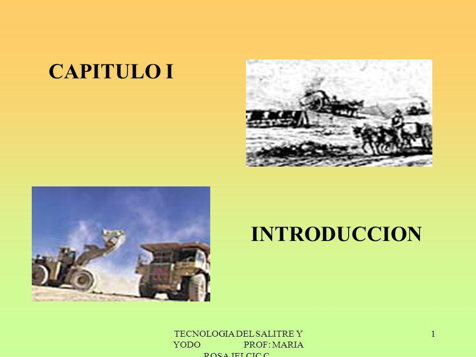 TECNOLOGIA DEL SALITRE Y YODO PROF: MARIA ROSA JELCIC C. 1 CAPITULO I INTRODUCCION