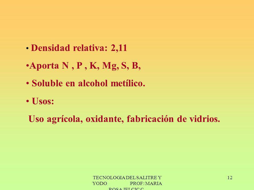 TECNOLOGIA DEL SALITRE Y YODO PROF: MARIA ROSA JELCIC C. 12 Densidad relativa: 2,11 Aporta N, P, K, Mg, S, B, Soluble en alcohol metílico. Usos: Uso a