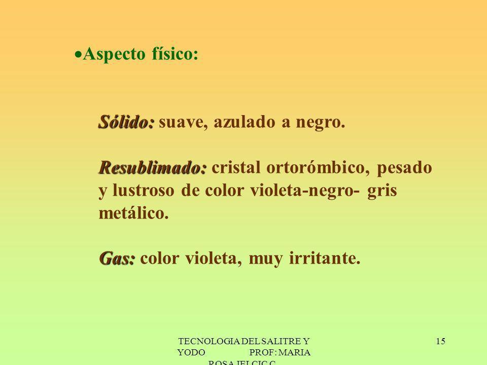 TECNOLOGIA DEL SALITRE Y YODO PROF: MARIA ROSA JELCIC C. 15 Aspecto físico: Sólido: Sólido: suave, azulado a negro. Resublimado: Resublimado: cristal