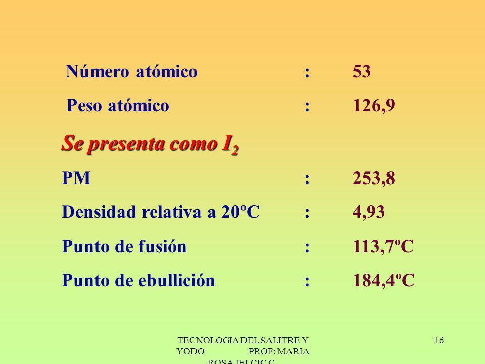 TECNOLOGIA DEL SALITRE Y YODO PROF: MARIA ROSA JELCIC C. 16 Número atómico: 53 Peso atómico :126,9 Se presenta como I 2 PM:253,8 Densidad relativaa 20