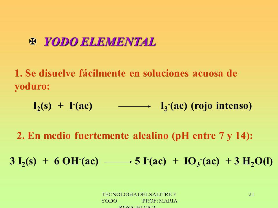 TECNOLOGIA DEL SALITRE Y YODO PROF: MARIA ROSA JELCIC C. 21 X YODO ELEMENTAL 1. Se disuelve fácilmente en soluciones acuosa de yoduro: I 2 (s) + I - (