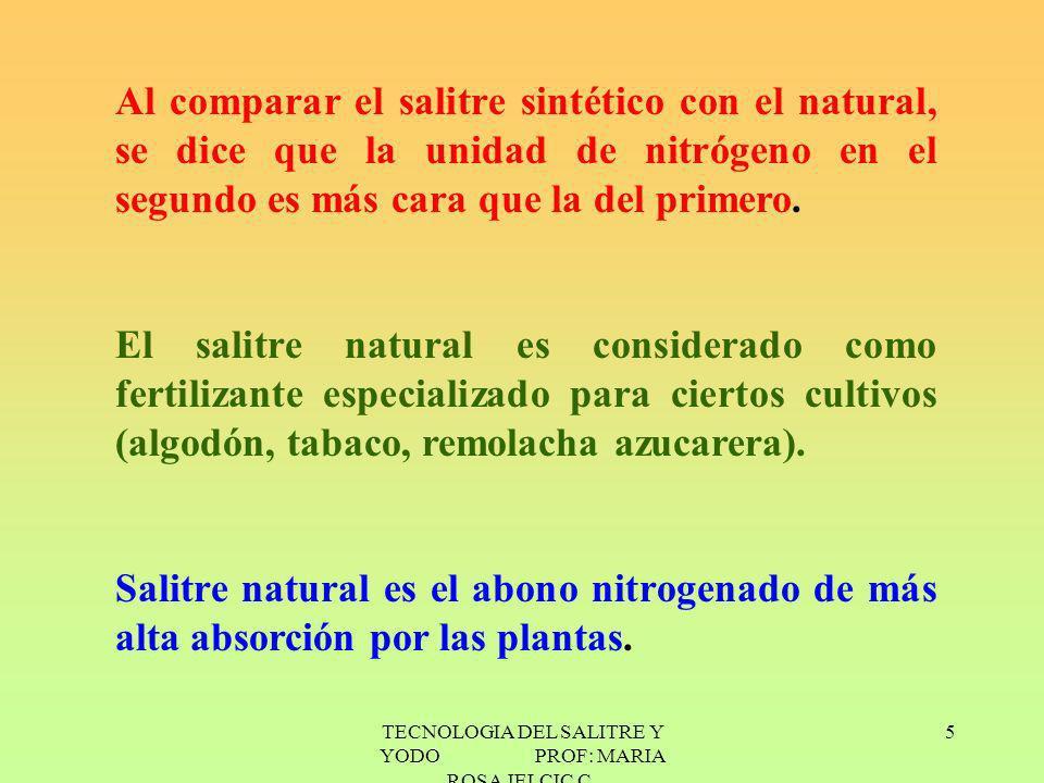 TECNOLOGIA DEL SALITRE Y YODO PROF: MARIA ROSA JELCIC C. 5 Al comparar el salitre sintético con el natural, se dice que la unidad de nitrógeno en el s