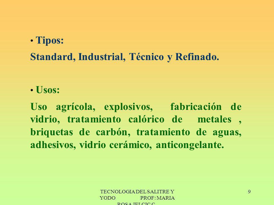 TECNOLOGIA DEL SALITRE Y YODO PROF: MARIA ROSA JELCIC C. 9 Tipos: Standard, Industrial, Técnico y Refinado. Usos: Uso agrícola, explosivos, fabricació
