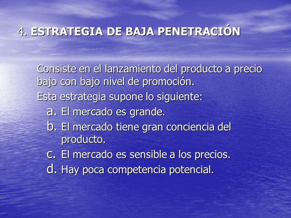 4. ESTRATEGIA DE BAJA PENETRACIÓN Consiste en el lanzamiento del producto a precio bajo con bajo nivel de promoción. Esta estrategia supone lo siguien