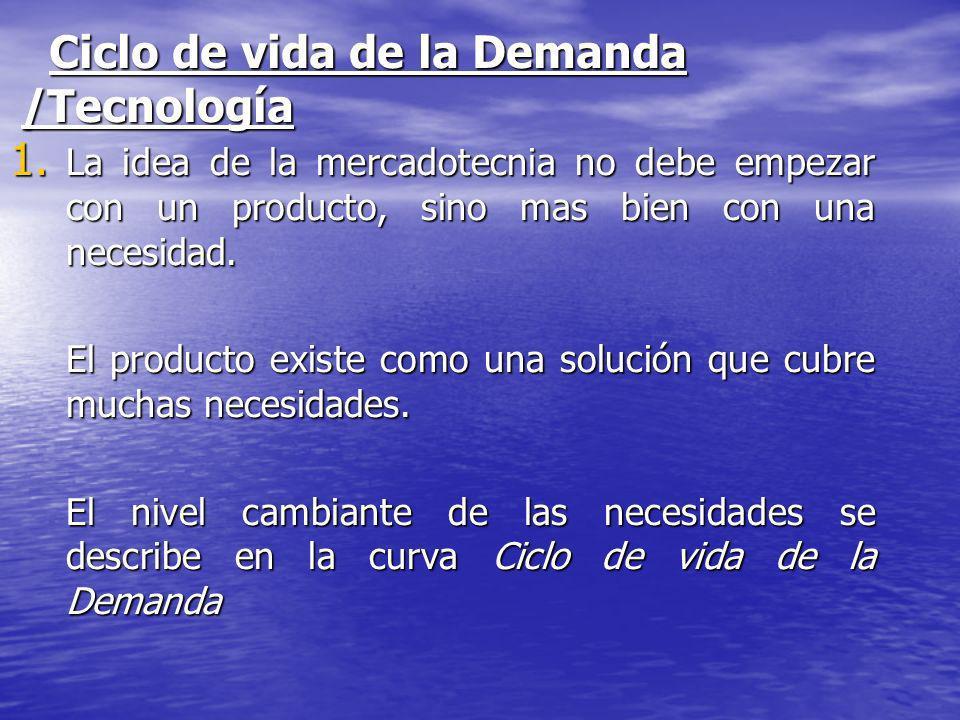 Ciclo de vida de la Demanda /Tecnología 1. La idea de la mercadotecnia no debe empezar con un producto, sino mas bien con una necesidad. El producto e