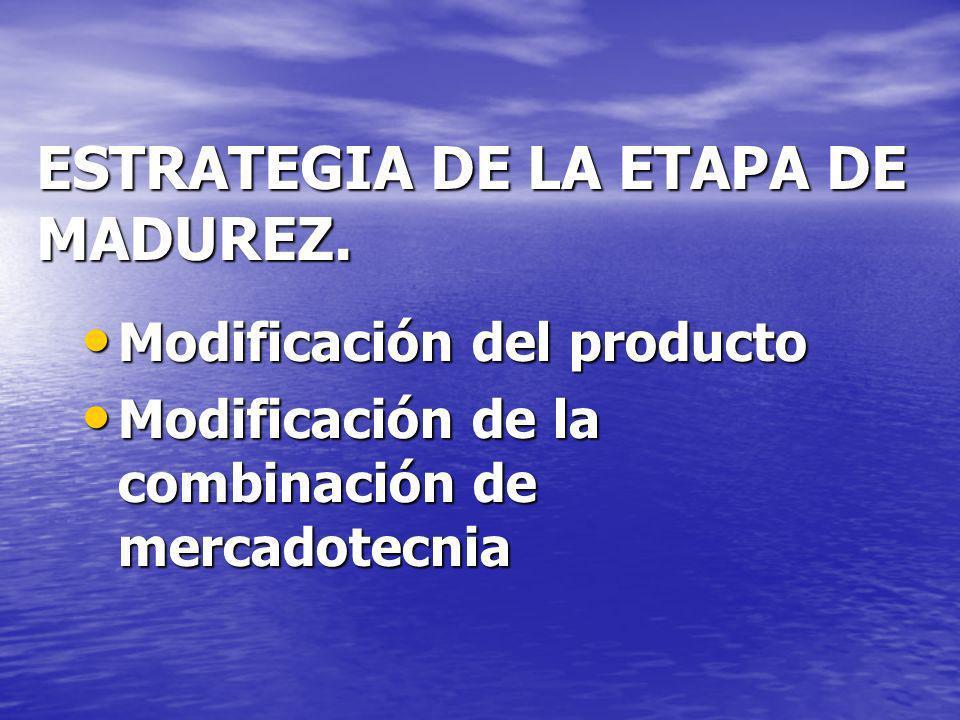 ESTRATEGIA DE LA ETAPA DE MADUREZ. Modificación del producto Modificación del producto Modificación de la combinación de mercadotecnia Modificación de
