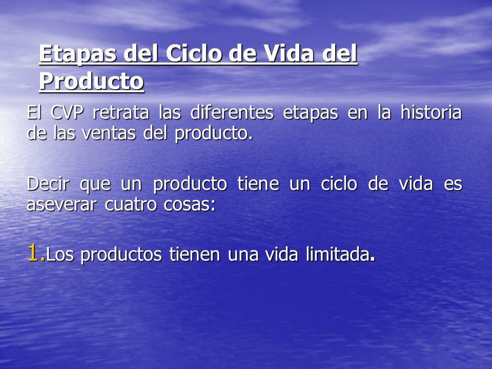 Etapas del Ciclo de Vida del Producto El CVP retrata las diferentes etapas en la historia de las ventas del producto. Decir que un producto tiene un c