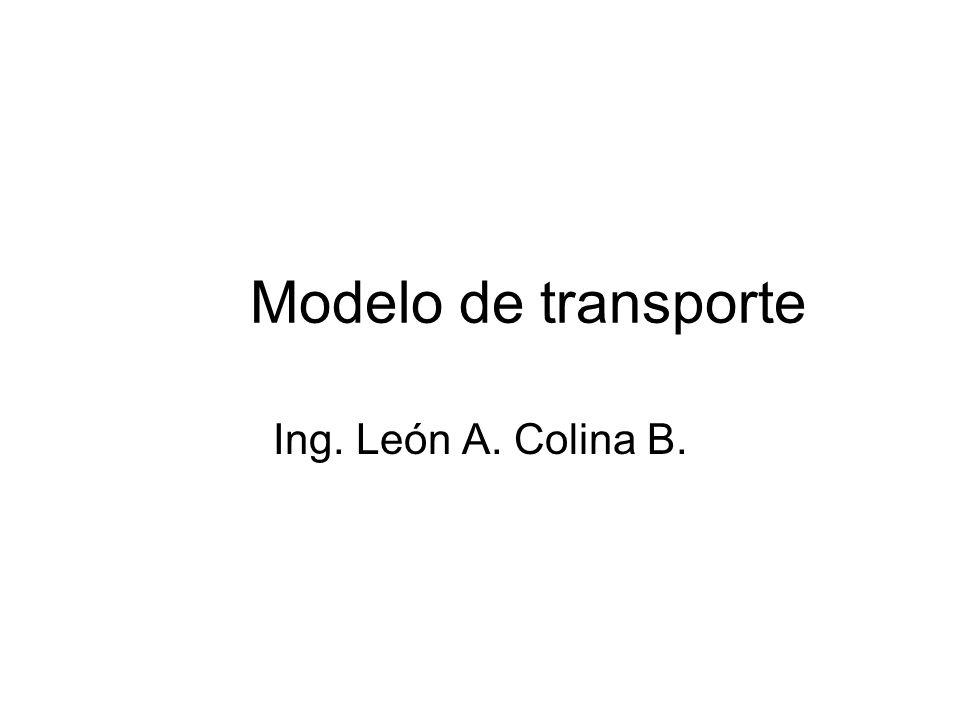 2 Modelo de transporte El problema de transportación es un tipo de modelo de redes de distribución que utiliza las características especiales de dicha estructura para obtener un procedimiento de resolución específico denominado técnica de transporte.
