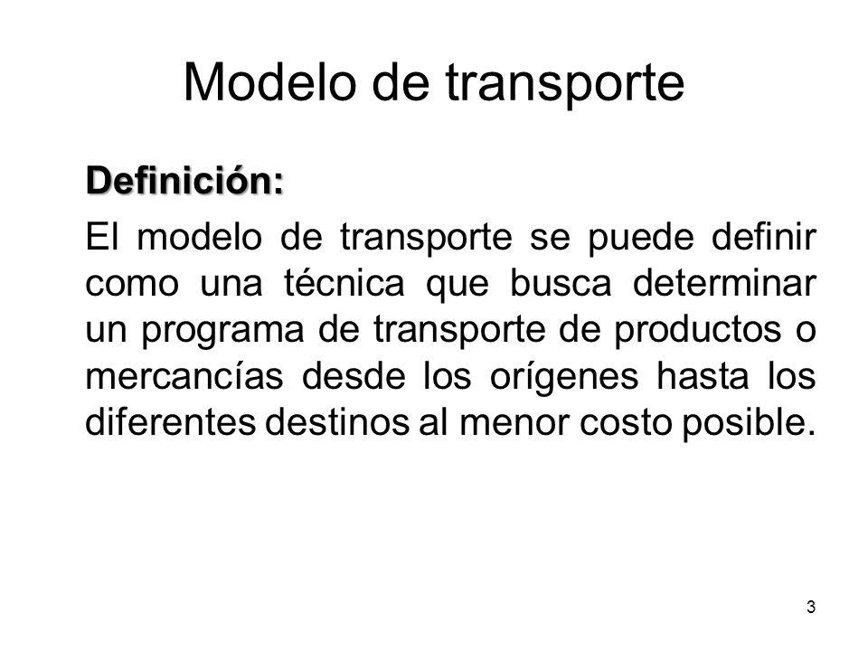 4 Modelo de transporte Objetivo En términos de programación lineal, la técnica de transporte busca determinar la cantidad que debe ser enviada desde cada origen a cada destino para satisfacer los requerimientos de demanda y abastecimiento de materiales a un costo mínimo.
