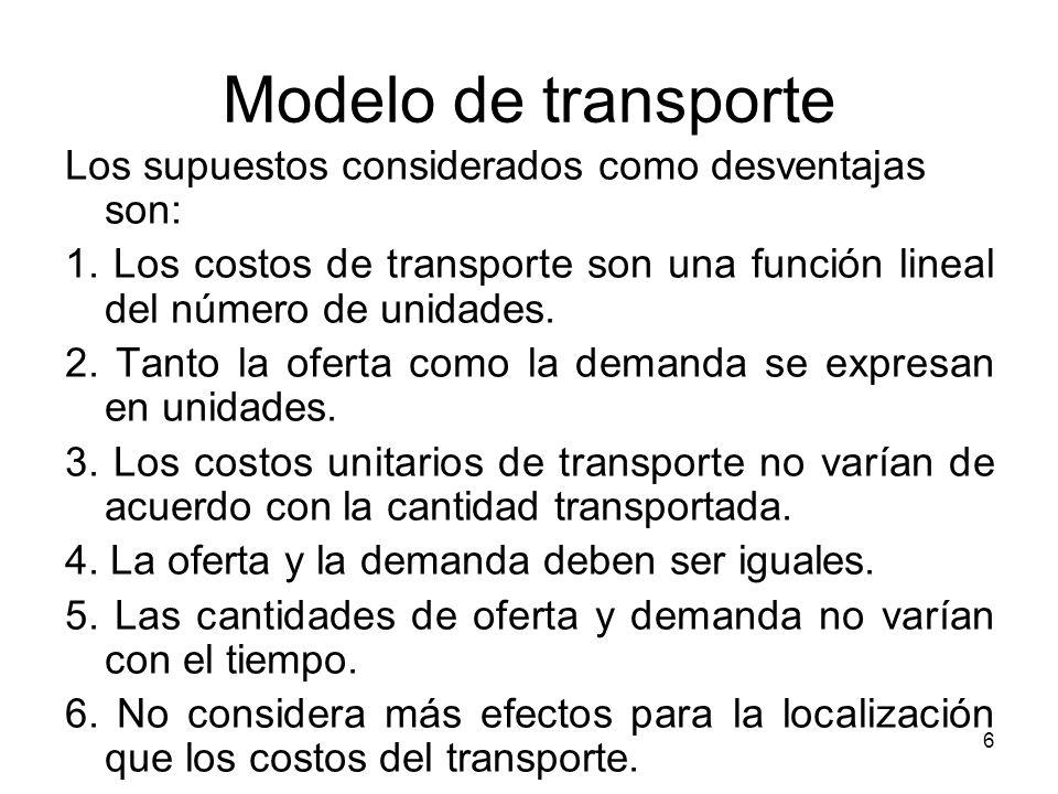 6 Modelo de transporte Los supuestos considerados como desventajas son: 1. Los costos de transporte son una función lineal del número de unidades. 2.