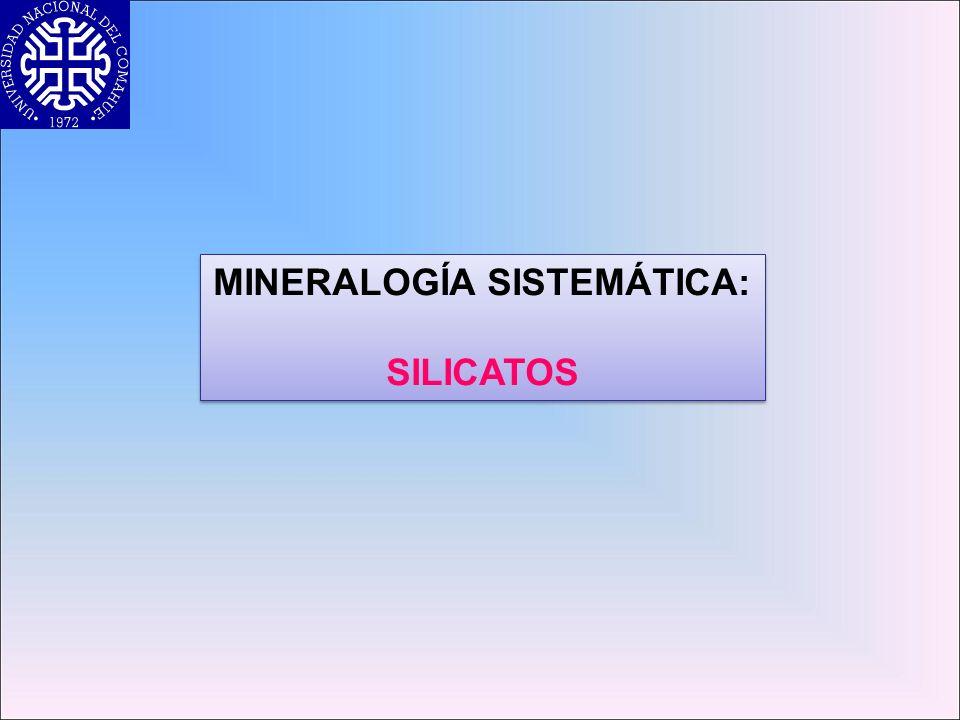 Filosilicatos Yellow = (OH) Serpentina: Mg 3 [Si 2 O 5 ] (OH) 4 Hojas T y Hojas trioctaédricas (Mg2+) = Capas apiladadas T-O (OH) en el centro de los anillos Monoclínico Rocas ígneas y metamórficas TO-TO-TOTO-TO-TOTO-TO-TOTO-TO-TO vdw vdw