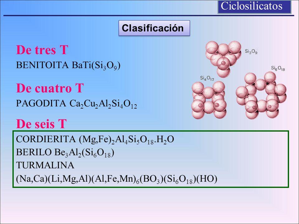 De tres T BENITOITA BaTi(Si 3 O 9 ) De cuatro T PAGODITA Ca 2 Cu 2 Al 2 Si 4 O 12 De seis T CORDIERITA (Mg,Fe) 2 Al 4 Si 5 O 18.H 2 O BERILO Be 3 Al 2