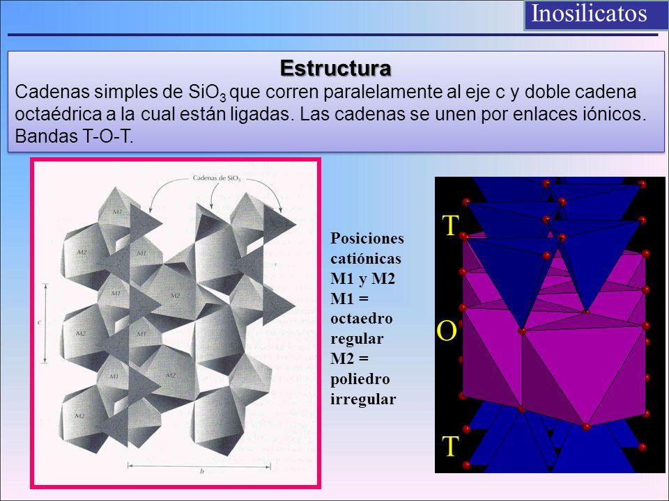 Inosilicatos Estructura Cadenas simples de SiO 3 que corren paralelamente al eje c y doble cadena octaédrica a la cual están ligadas. Las cadenas se u