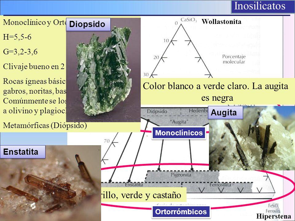 Monoclínico y Ortorrómbico H=5,5-6 G=3,2-3,6 Clivaje bueno en 2 direcciones Rocas ígneas básicas : peridotitas, gabros, noritas, basaltos (Hipersteno)