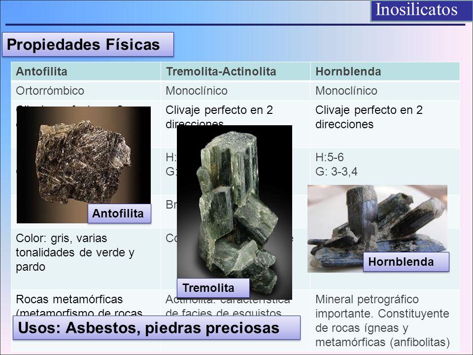 Inosilicatos Propiedades Físicas AntofilitaTremolita-ActinolitaHornblenda OrtorrómbicoMonoclínico Clivaje perfecto en 2 direcciones H: 5,5 – 6 G: 2,85