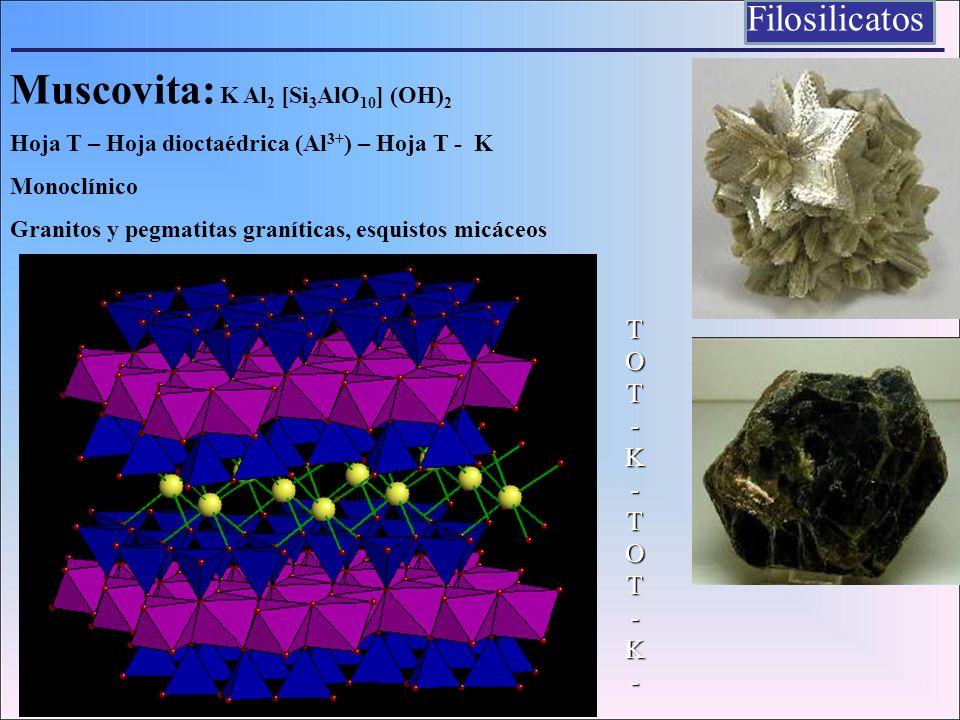 Muscovita: K Al 2 [Si 3 AlO 10 ] (OH) 2 Hoja T – Hoja dioctaédrica (Al 3+ ) – Hoja T - K Monoclínico Granitos y pegmatitas graníticas, esquistos micác