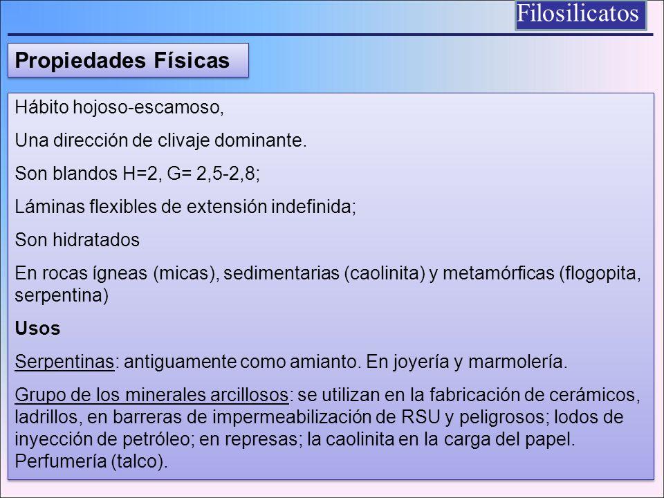 Hábito hojoso-escamoso, Una dirección de clivaje dominante. Son blandos H=2, G= 2,5-2,8; Láminas flexibles de extensión indefinida; Son hidratados En