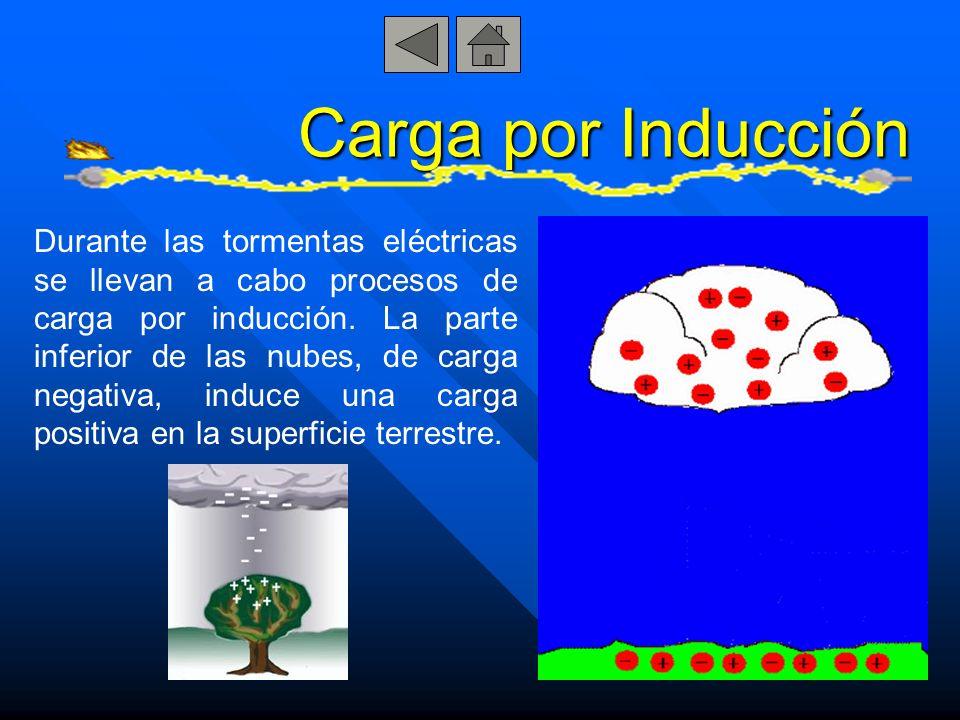 Durante las tormentas eléctricas se llevan a cabo procesos de carga por inducción. La parte inferior de las nubes, de carga negativa, induce una carga