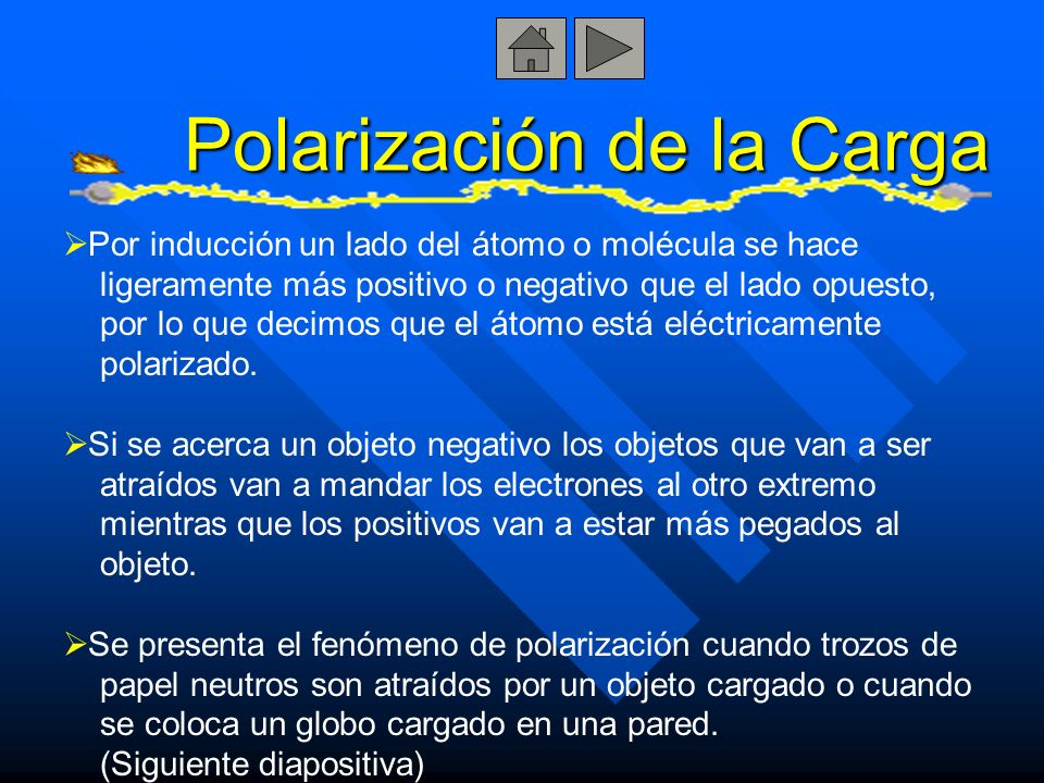 Polarización de la Carga Por inducción un lado del átomo o molécula se hace ligeramente más positivo o negativo que el lado opuesto, por lo que decimo