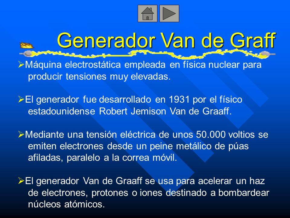 Generador Van de Graff Máquina electrostática empleada en física nuclear para producir tensiones muy elevadas. El generador fue desarrollado en 1931 p