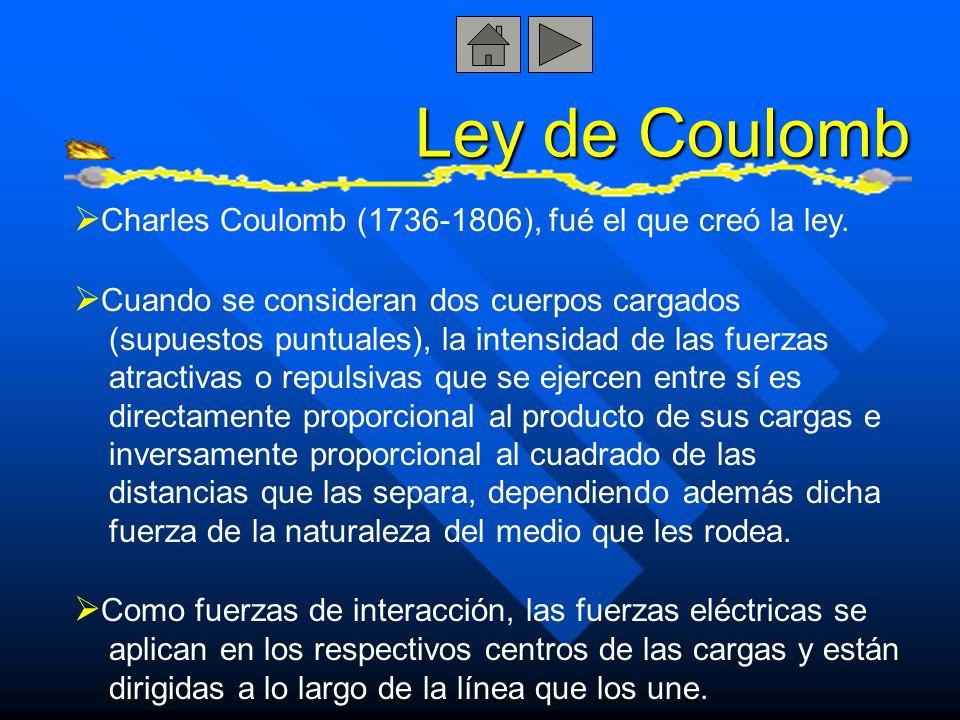 Ley de Coulomb Charles Coulomb (1736-1806), fué el que creó la ley. Cuando se consideran dos cuerpos cargados (supuestos puntuales), la intensidad de