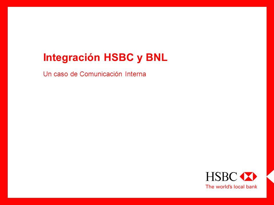 Presentación de HSBC BNL en Argentina Beneficios de la adquisición Objetivos del Proceso de Integración Identificación del Vocero Creación de medios Control de contenidos y coordinación con acciones de comunicación externa Principales desafíos hasta la fusión