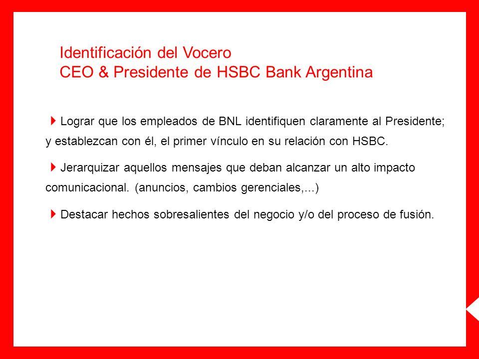 Identificación del Vocero CEO & Presidente de HSBC Bank Argentina Lograr que los empleados de BNL identifiquen claramente al Presidente; y establezcan