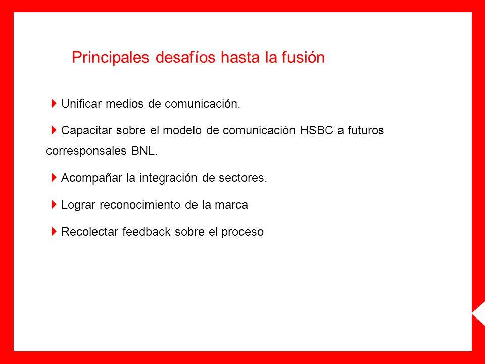 Principales desafíos hasta la fusión Unificar medios de comunicación. Capacitar sobre el modelo de comunicación HSBC a futuros corresponsales BNL. Aco
