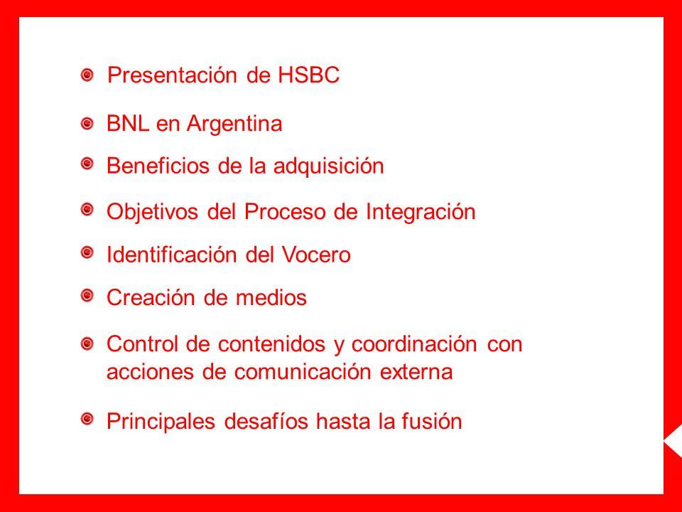 Presentación de HSBC BNL en Argentina Beneficios de la adquisición Objetivos del Proceso de Integración Identificación del Vocero Creación de medios C