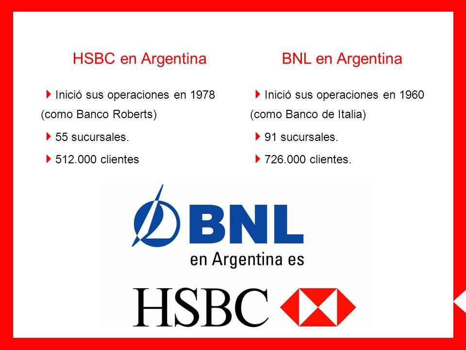 HSBC en Argentina Inició sus operaciones en 1978 (como Banco Roberts) 55 sucursales. 512.000 clientes BNL en Argentina Inició sus operaciones en 1960