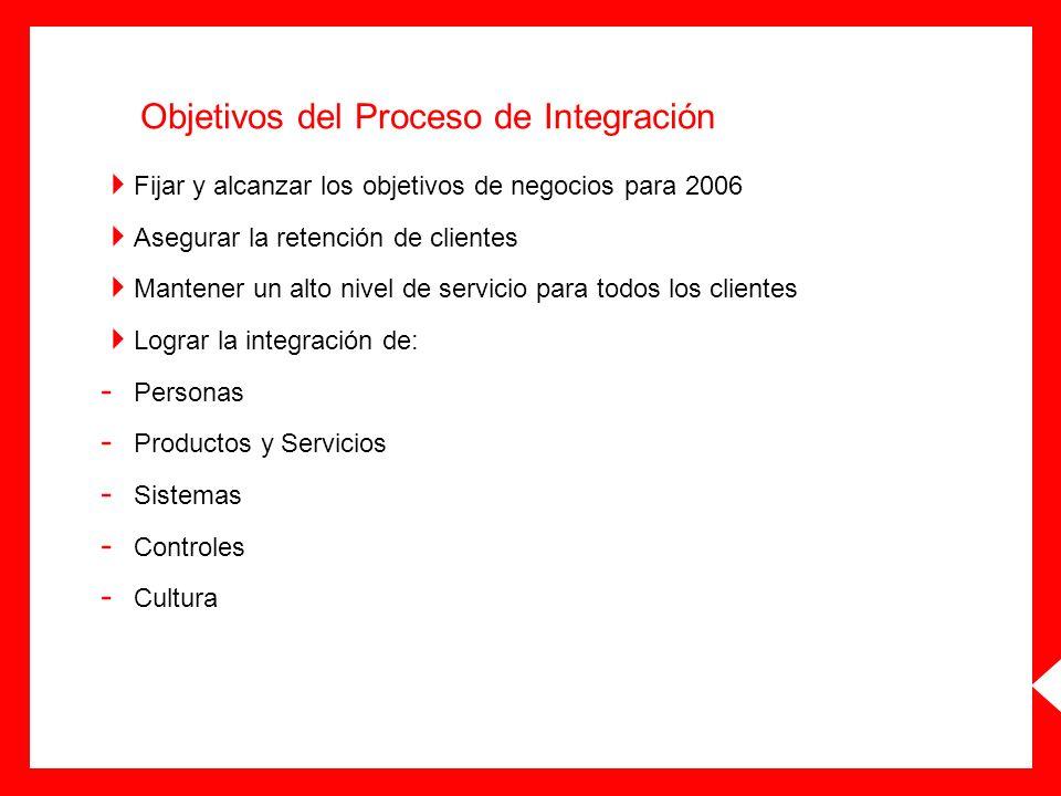 Objetivos del Proceso de Integración Fijar y alcanzar los objetivos de negocios para 2006 Asegurar la retención de clientes Mantener un alto nivel de