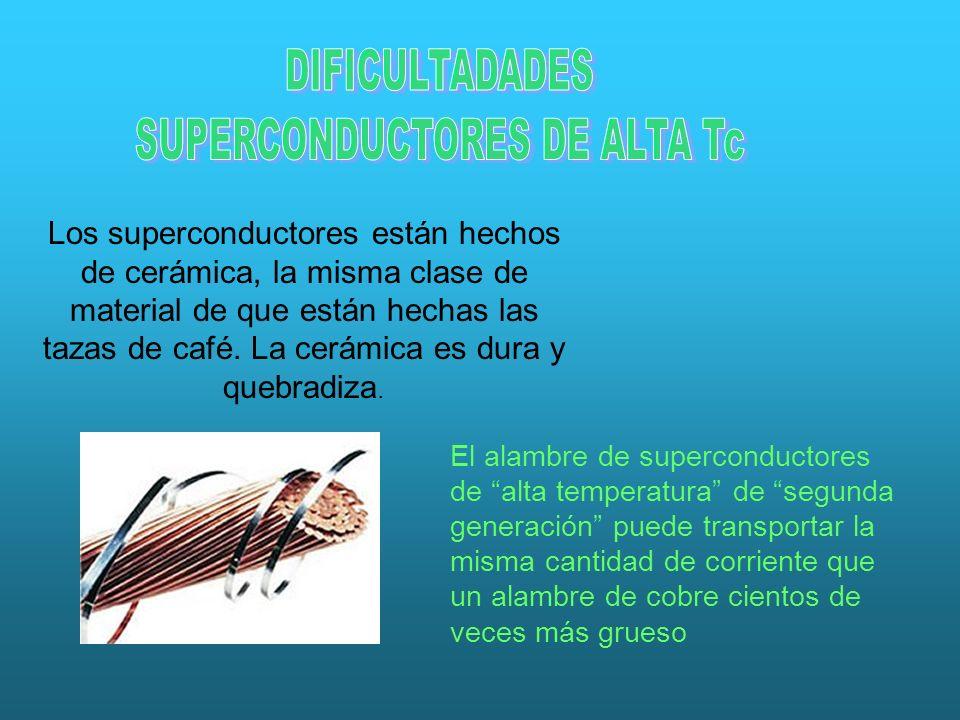 Los superconductores están hechos de cerámica, la misma clase de material de que están hechas las tazas de café. La cerámica es dura y quebradiza. El