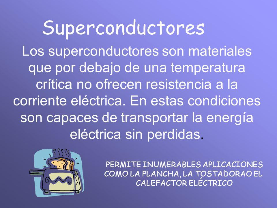 Superconductores Los superconductores son materiales que por debajo de una temperatura crítica no ofrecen resistencia a la corriente eléctrica. En est