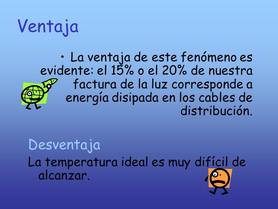 Ventaja La ventaja de este fenómeno es evidente: el 15% o el 20% de nuestra factura de la luz corresponde a energía disipada en los cables de distribu