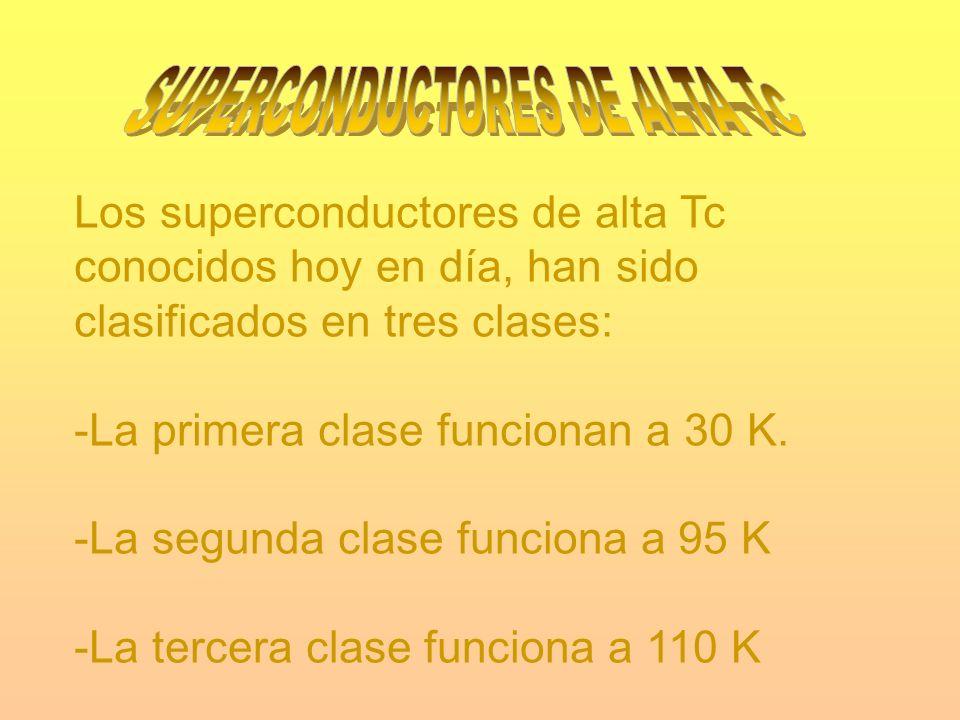 Los superconductores de alta Tc conocidos hoy en día, han sido clasificados en tres clases: -La primera clase funcionan a 30 K. -La segunda clase func