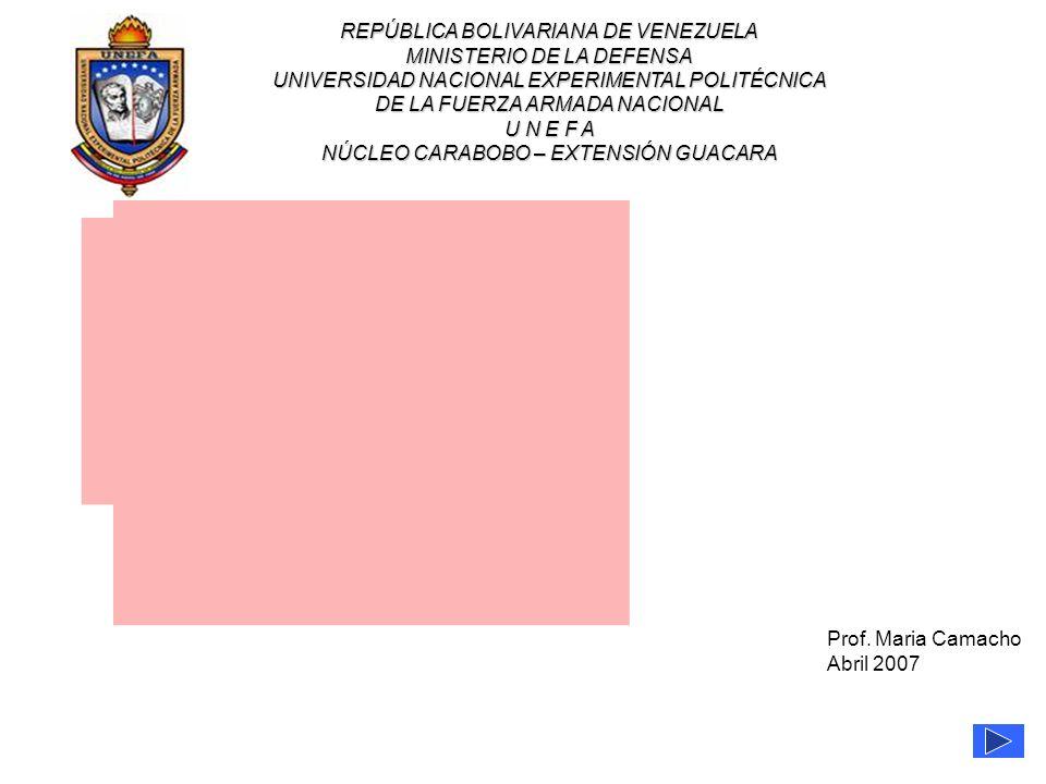 1 de 13 REPÚBLICA BOLIVARIANA DE VENEZUELA MINISTERIO DE LA DEFENSA UNIVERSIDAD NACIONAL EXPERIMENTAL POLITÉCNICA DE LA FUERZA ARMADA NACIONAL U N E F