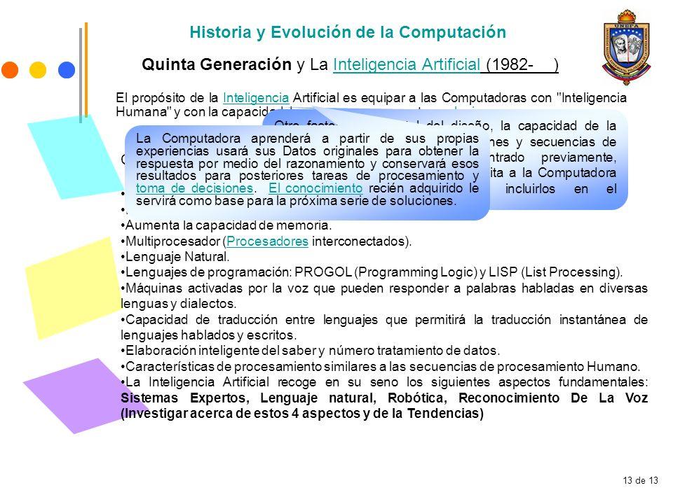 13 de 13 Historia y Evolución de la Computación Quinta Generación y La Inteligencia Artificial (1982- )Inteligencia Artificial Características Princip