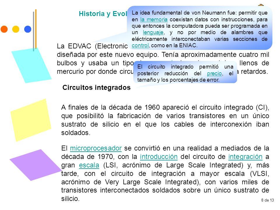8 de 13 Historia y Evolución de la Computación La EDVAC (Electronic Discrete Variable Automatic Computer) fue diseñada por este nuevo equipo. Tenía ap
